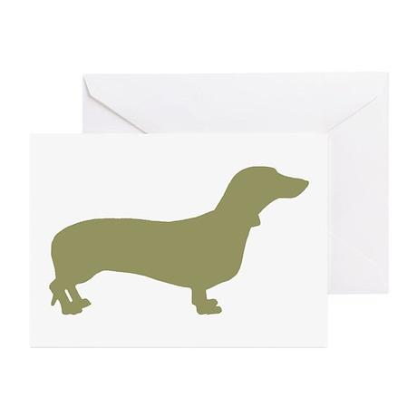Sage Green Dachshund Greeting Cards (Pk of 10)