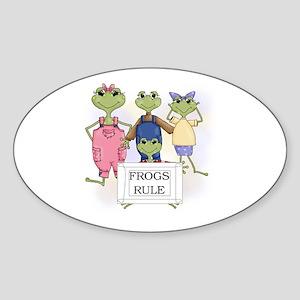 Frogs Rule Oval Sticker