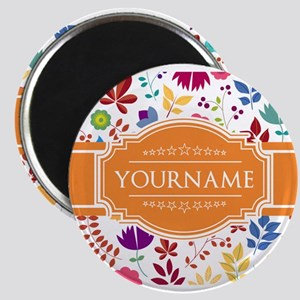 Personalized Name Monogram Floral Magnets
