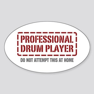 Professional Drum Player Oval Sticker