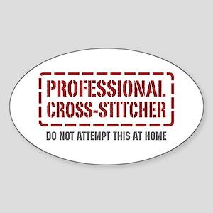 Professional Cross-stitcher Oval Sticker
