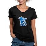 MNCLUB Alone logo Women's V-Neck Dark T-Shirt