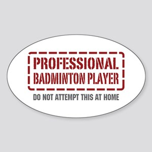 Professional Badminton Player Oval Sticker