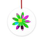 Primary Pixel Flower (COOL) Keepsake (Round)