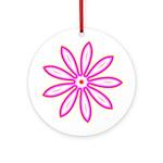Pink and Yellow Neon Flower Keepsake (Round)