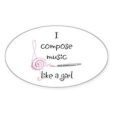 I compose music like a girl Oval Sticker