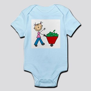 Stick Girl with Wheelbarrow Infant Bodysuit