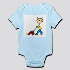 Stick Girl Mowing Lawn Infant Bodysuit