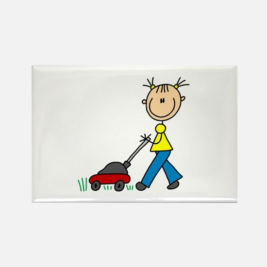 Stick Girl Mowing Lawn Rectangle Magnet