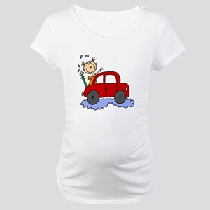 Stick Girl Washing Car Maternity T-Shirt