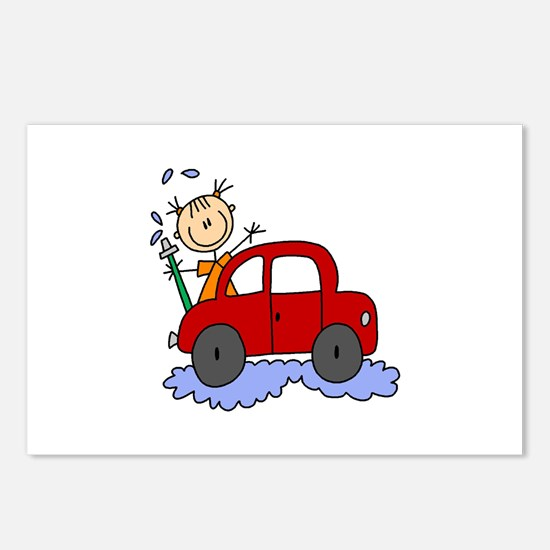 Stick Girl Washing Car Postcards (Package of 8)