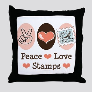 Peace Love Stamps Throw Pillow