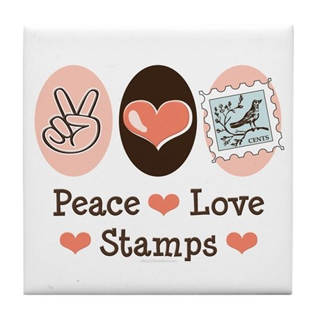 Peace Love Stamps Tile Coaster