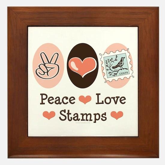 Peace Love Stamps Framed Tile
