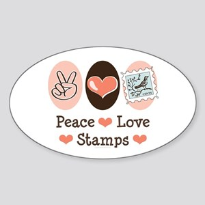 Peace Love Stamps Oval Sticker