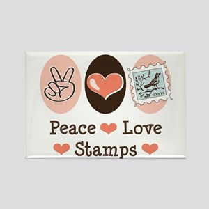Peace Love Stamps Rectangle Magnet