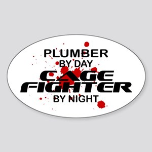 Plumber Cage Fighter by Night Oval Sticker