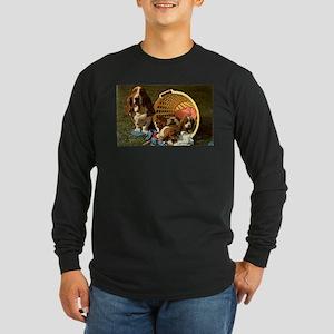 Basset Hound & Puppies Long Sleeve Dark T-Shirt