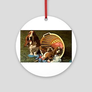 Basset Hound & Puppies Ornament (Round)