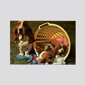 Basset Hound & Puppies Rectangle Magnet