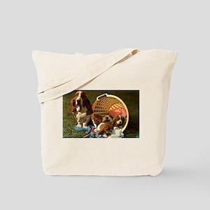 Basset Hound & Puppies Tote Bag