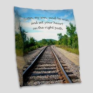 Proverbs 23:19 Burlap Throw Pillow