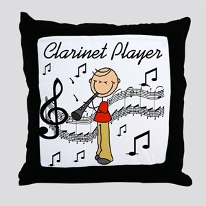 Clarinet Player Throw Pillow