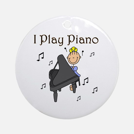 I Play Piano Ornament (Round)