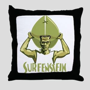 Surfing Halloween Frankenstein Throw Pillow