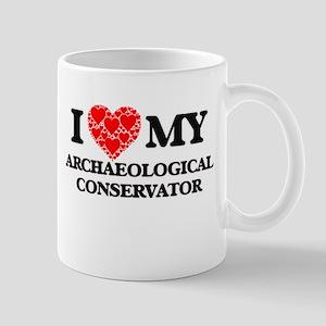 I Love my Archaeological Conservator Mugs