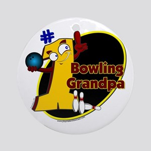 Yellow number 1 bowling grand Ornament (Round)