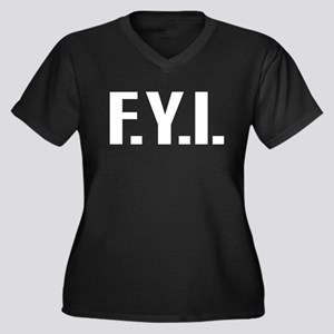 """FYI"" Women's Plus Size V-Neck Dark T-Shirt"