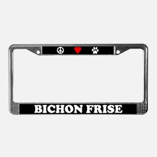 Peace Love Bichon Frise License Plate Frame