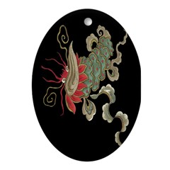 Chinese Luck Dragon Oval Ornament