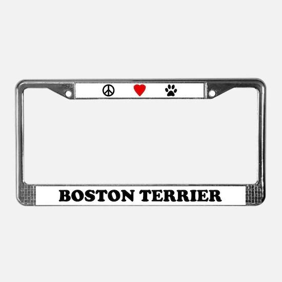 Peace Love Boston Terrier License Plate Frame