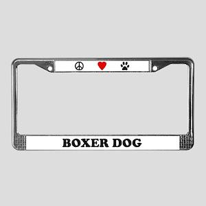 Peace Love Boxer License Plate Frame