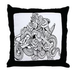 Samurai and Dragon Throw Pillow