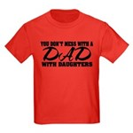 Dad with Daughters Kids Dark T-Shirt