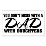 Dad with Daughters Rectangle Sticker