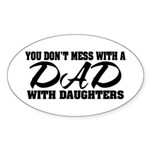Dad with Daughters Oval Sticker (10 pk)