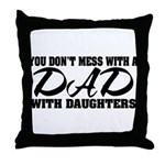 Dad with Daughters Throw Pillow