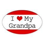 I Heart My Grandpa Oval Sticker (10 pk)