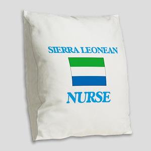 Sierra Leonean Nurse Burlap Throw Pillow