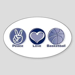 Peace Love Basketball Sticker (Oval)