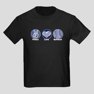 Peace Love Softball Kids Dark T-Shirt