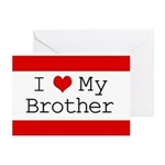 I Heart My Brother Greeting Cards (Pk of 20)