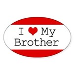I Heart My Brother Oval Sticker (10 pk)