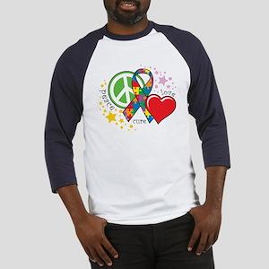 Autism: Peace Love Cure Baseball Jersey
