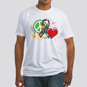 Autism: Peace Love Cure Fitted T-Shirt