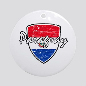 Paraguayan Distressed Flag Ornament (Round)